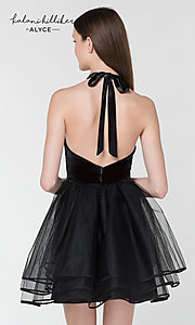 Image of halter homecoming dress with short tulle skirt. Style: AL-KHKR100-2 Back Image