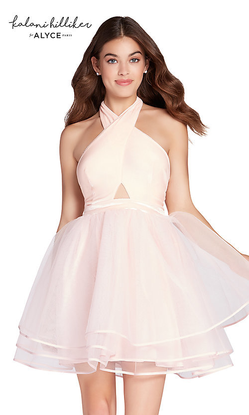 Image of halter homecoming dress with short tulle skirt. Style: AL-KHKR100-2 Front Image