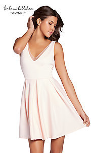 V-Neck Short Homecoming Party Dress with Pockets