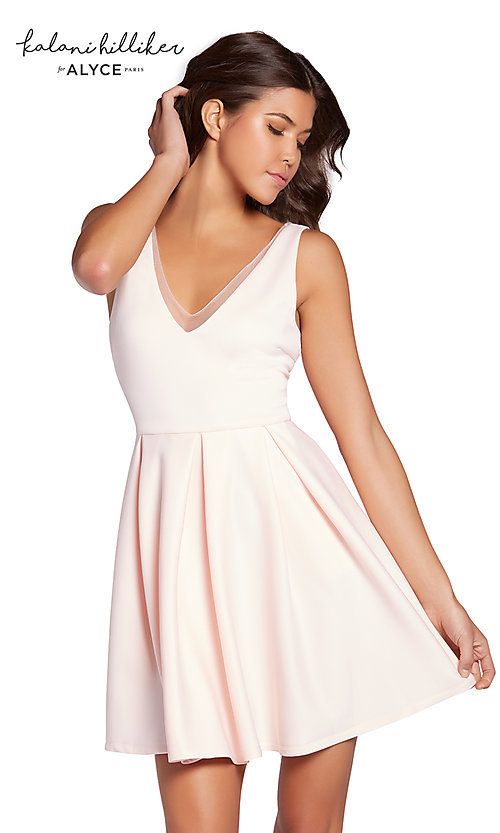 Image of v-neck short homecoming party dress with pockets. Style: AL-KHKR101 Detail Image 1