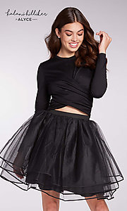 Image of long-sleeve two-piece short homecoming dress. Style: AL-KHKR114 Front Image