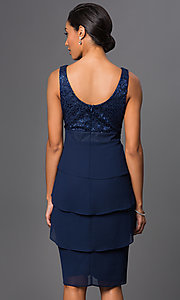 Image of knee-length navy party dress with matching bolero. Style: SF-8723nb Back Image