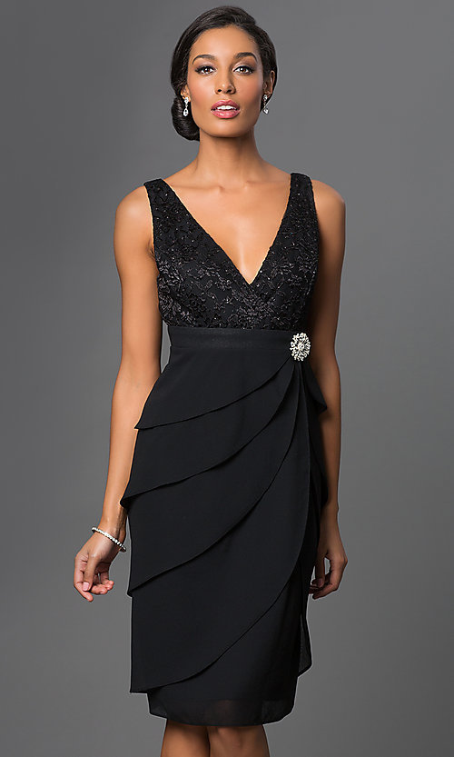 Image of knee-length navy party dress with matching bolero. Style: SF-8723nb Detail Image 2