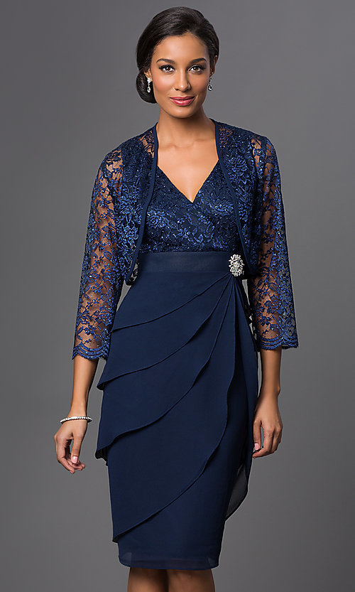 Image of knee-length navy party dress with matching bolero. Style: SF-8723nb Front Image