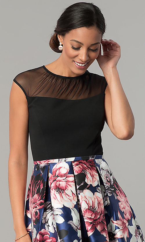 Image of short cap-sleeve party dress with floral-print skirt. Style: SG-SBYQ1582 Detail Image 2