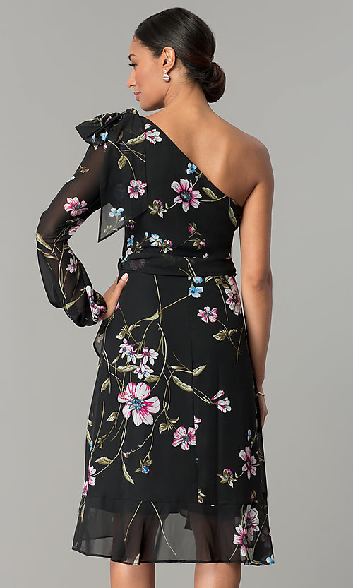Image of one-shoulder black party dress with floral print. Style: SG-SBYM1613 Back Image
