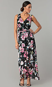 Image of long v-neck floral-print black wedding-guest dress. Style: SG-SBYF1AMR Front Image