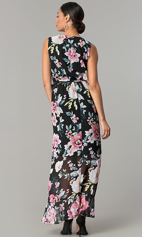 Image of long v-neck floral-print black wedding-guest dress. Style: SG-SBYF1AMR Back Image