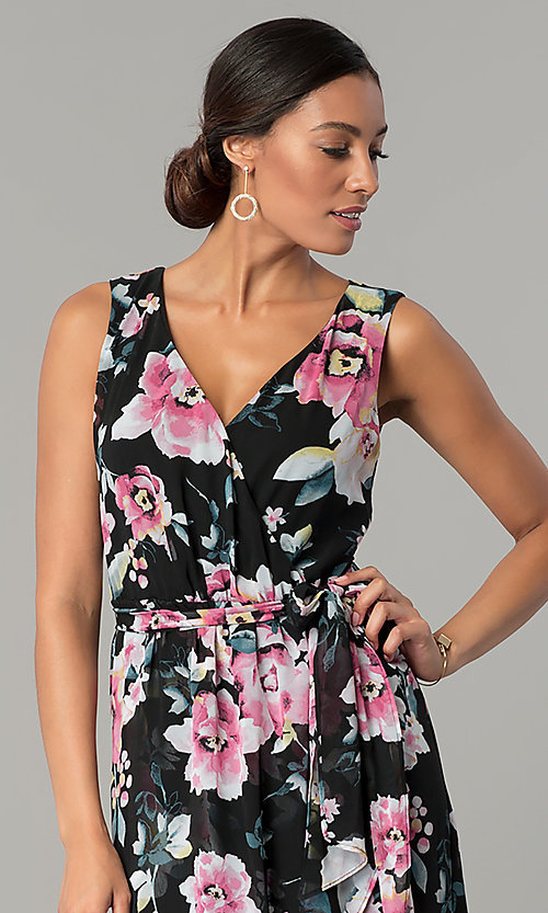 Image of long v-neck floral-print black wedding-guest dress. Style: SG-SBYF1AMR Detail Image 1