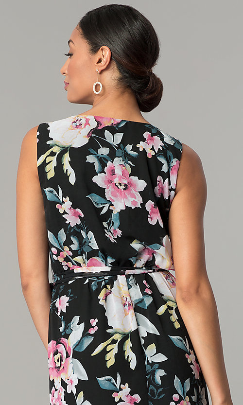 Image of long v-neck floral-print black wedding-guest dress. Style: SG-SBYF1AMR Detail Image 2
