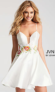 Fit-and-Flare Homecoming Dress with Embroidered Waist