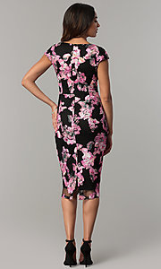 Image of short black wedding-guest dress with floral applique. Style: JX-1ZYO302Q Back Image