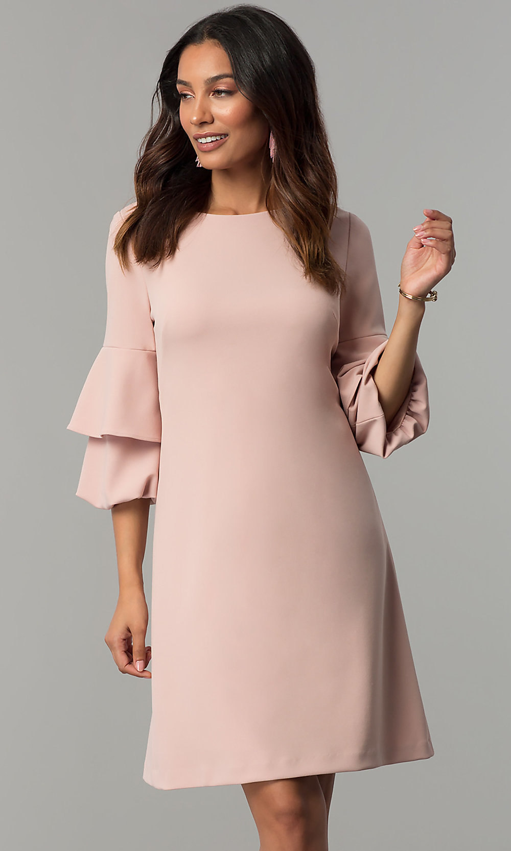 Wedding-Guest Shift Dress with Sleeves