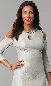 Image of cold-shoulder holiday party dress with jewel collar. Style: JX-1ZYP157M Detail Image 1