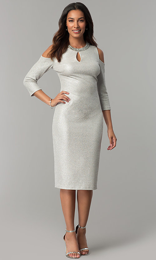 Image of cold-shoulder holiday party dress with jewel collar. Style: JX-1ZYP157M Front Image