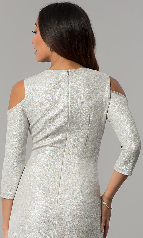 Image of cold-shoulder holiday party dress with jewel collar. Style: JX-1ZYP157M Detail Image 2