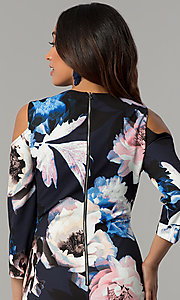Image of cold-shoulder wedding-guest dress with floral print. Style: JX-1ZYS051M Detail Image 2