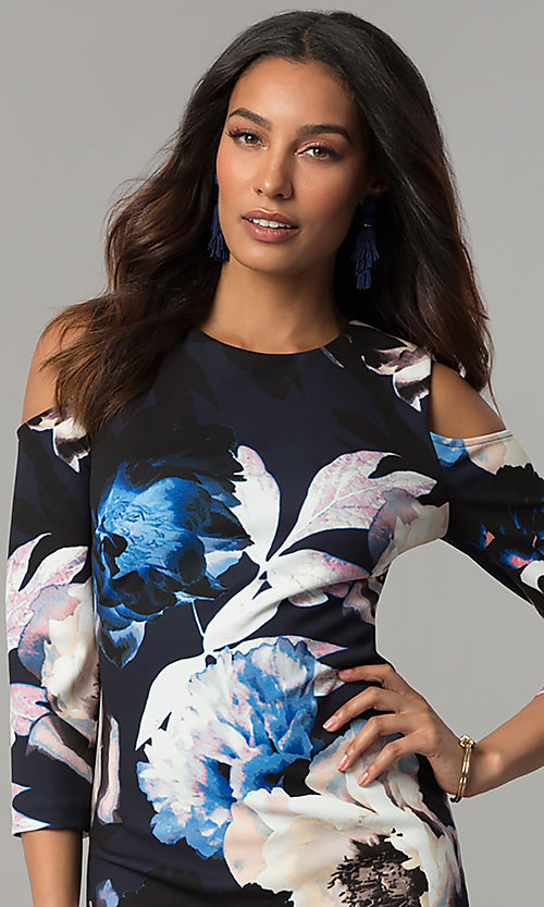Image of cold-shoulder wedding-guest dress with floral print. Style: JX-1ZYS051M Detail Image 1