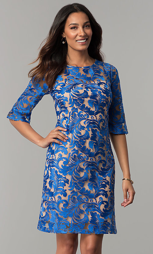 Embroidered Short Wedding Guest Dress With Sleeves