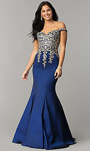 JVNX by Jovani Off-Shoulder Mermaid Navy Prom Dress