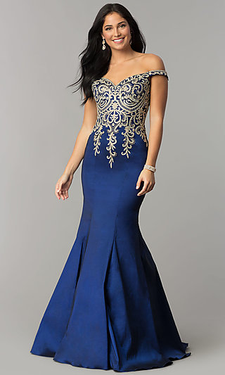 44ddfb98511e JVNX by Jovani Off-Shoulder Mermaid Navy Prom Dress