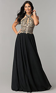 Image of JVNX by Jovani long chiffon prom dress with keyhole. Style: JO-JVNX60160 Detail Image 2