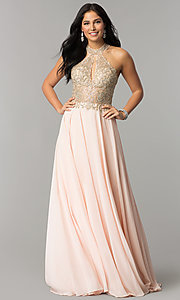 Image of JVNX by Jovani long chiffon prom dress with keyhole. Style: JO-JVNX60160 Back Image