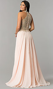 Image of JVNX by Jovani long chiffon prom dress with keyhole. Style: JO-JVNX60160 Front Image