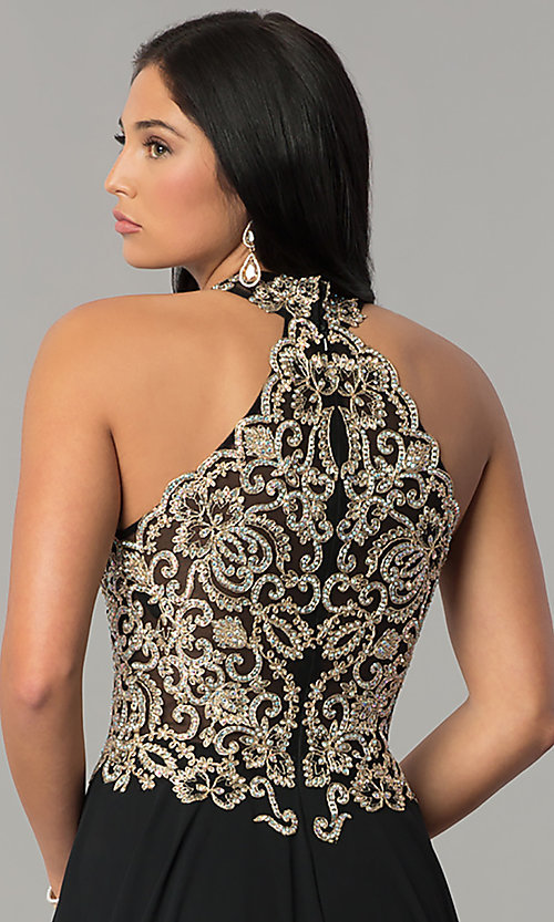 Image of JVNX by Jovani long chiffon prom dress with keyhole. Style: JO-JVNX60160 Detail Image 3