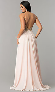 Image of long open-back JVNX by Jovani chiffon prom dress. Style: JO-JVNX59134 Back Image