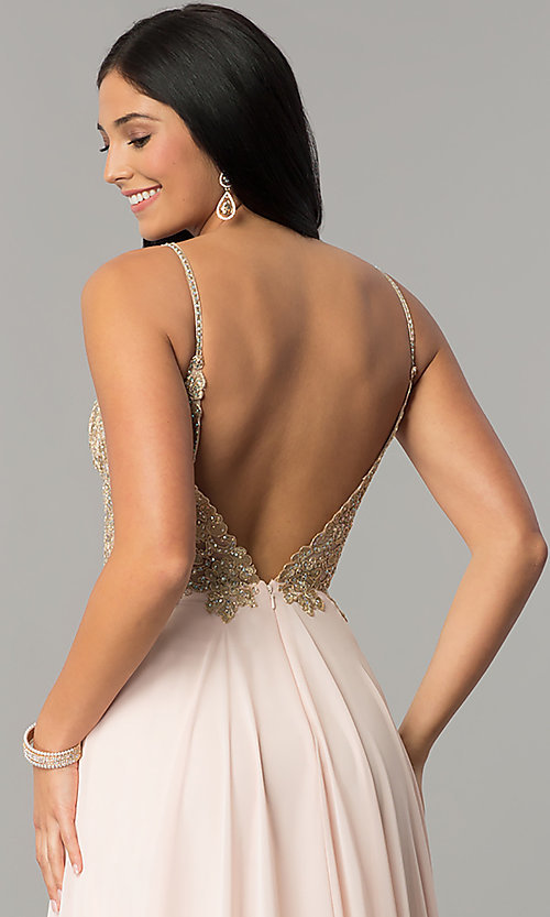 Image of long open-back JVNX by Jovani chiffon prom dress. Style: JO-JVNX59134 Detail Image 2