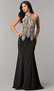 JVNX by Jovani Embellished-Bodice Long Prom Dress