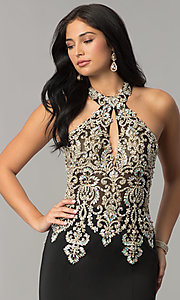 Image of JVNX by Jovani embellished-bodice long prom dress. Style: JO-JVNX60301 Detail Image 1