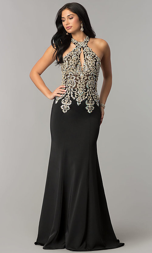 Image of JVNX by Jovani embellished-bodice long prom dress. Style: JO-JVNX60301 Front Image