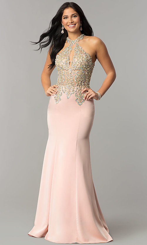 Image of JVNX by Jovani embellished-bodice long prom dress. Style: JO-JVNX60301 Detail Image 2