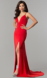 Image of JVNX by Jovani v-neck long prom dress.  Style: JO-JVNX59092 Detail Image 3