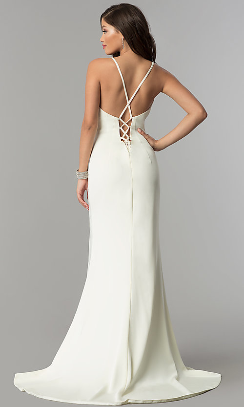 Image of JVNX by Jovani v-neck long prom dress.  Style: JO-JVNX59092 Back Image