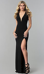JVNX by Jovani Long V-Neck Prom Dress with Corset Tie