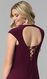 Image of JVNX by Jovani long v-neck prom dress with corset tie. Style: JO-JVNX60470 Detail Image 3