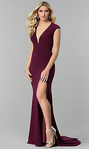 Image of JVNX by Jovani long v-neck prom dress with corset tie. Style: JO-JVNX60470 Detail Image 2