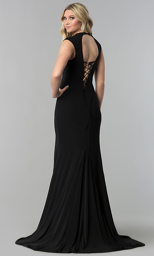 Image of JVNX by Jovani long v-neck prom dress with corset tie. Style: JO-JVNX60470 Back Image