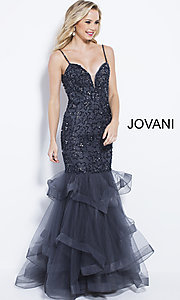 Long Jovani Mermaid-Style Beaded Prom Dress