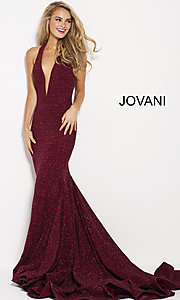 Long Glitter Halter Jovani Prom Dress