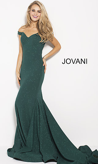 fdc1df2e9ee8d Off-the-Shoulder Prom Dress with Glitter