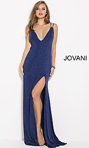 Long Deep V-Neck Prom Dress with Glitter