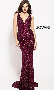 Long Sequin Sheer-Sided Jovani Prom Dress