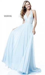 V-Neck Halter Sherri Hill Long Prom Dress