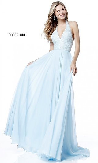 7dc0c2e434 V-Neck Halter Sherri Hill Long Prom Dress