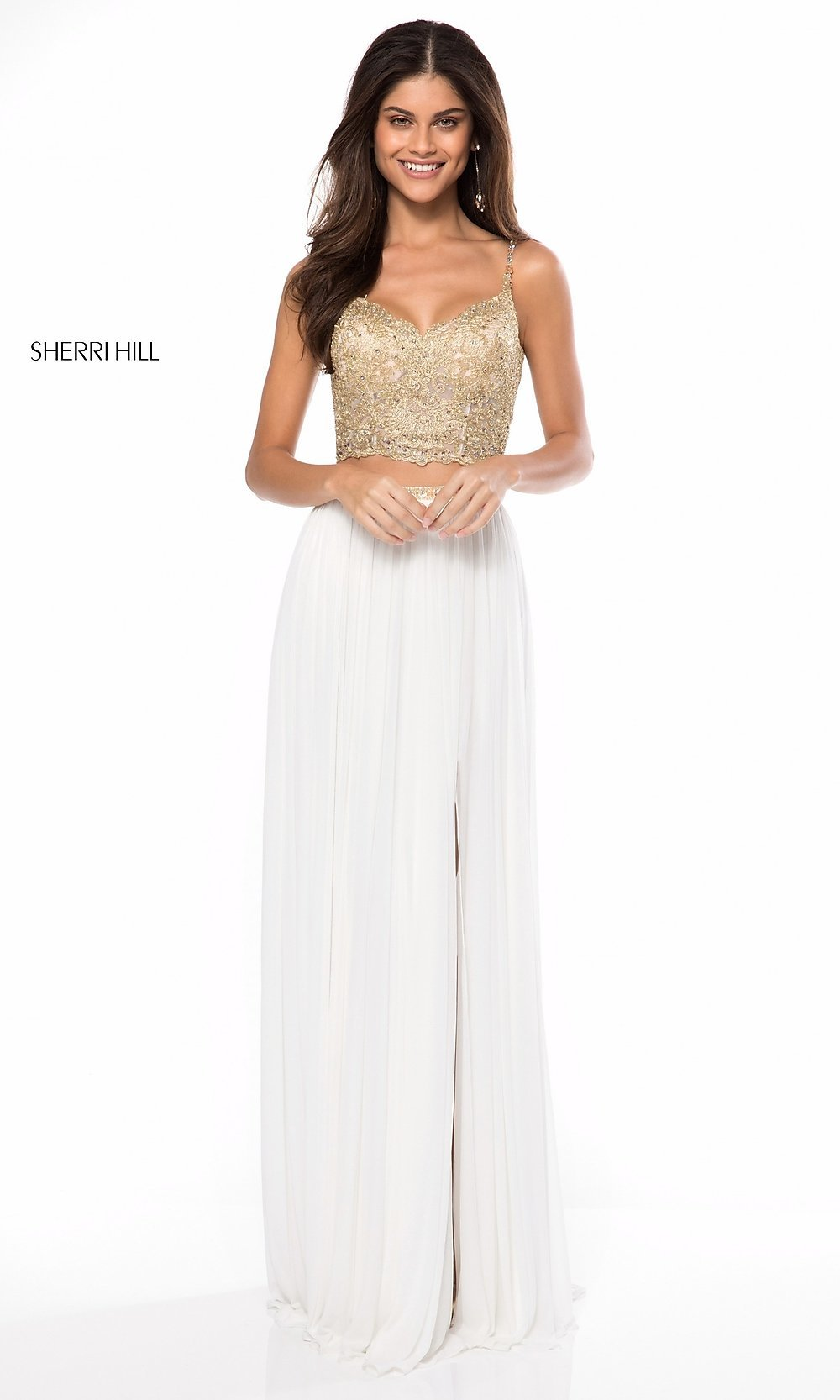 Gold Two Piece Prom Dress