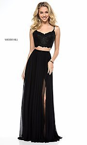 Image of long v-neck two-piece prom dress by Sherri Hill. Style: SH-51842 Detail Image 1